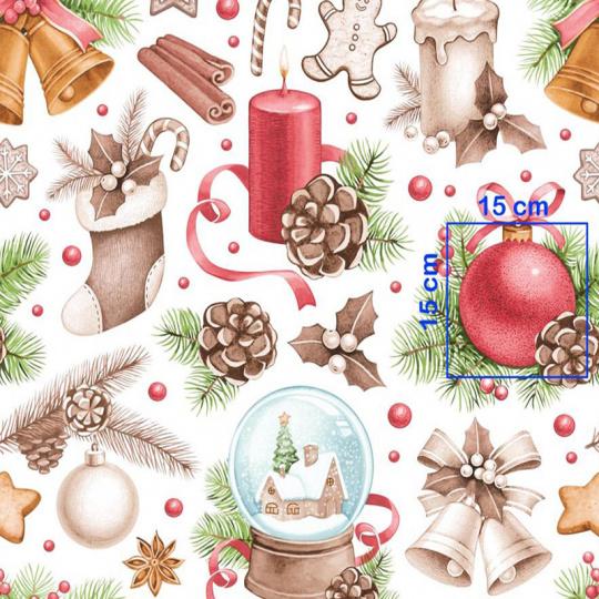 Vánoční dekorační bavlněné látky vzor VÁNOCE 15 na bílém