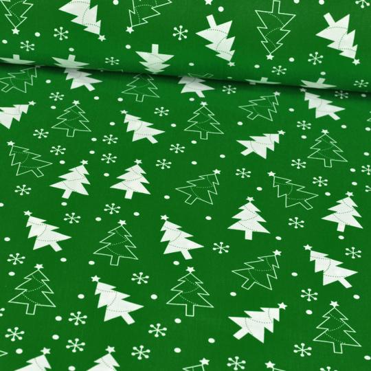 Vánoční vzory zelené bavlněné látky, metráž 384