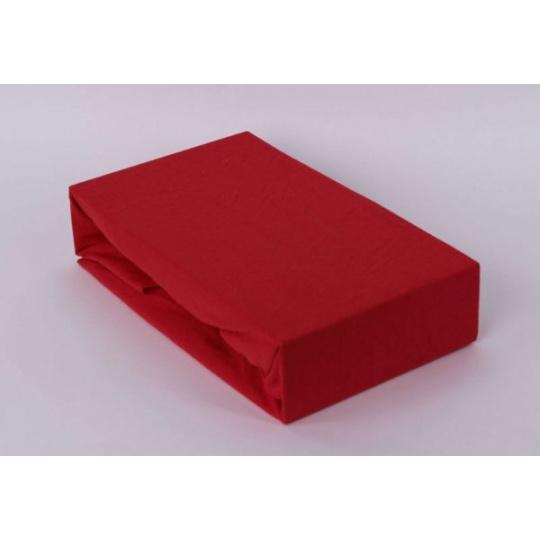 Exclusive Jersey prostěradlo dvoulůžko - červená 200x220 cmá