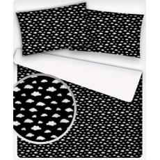Bavlnená látka vzor mrak mini biely na čiernom, metráž 160 cm