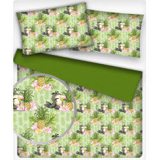 Bavlněné látky vzor PAPOUŽEK a ANANAS na zeleném