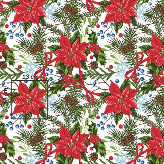 Vianočné vzory bavlnenej látky, metráž 160 cm, vzor Vianoce 20 na bielom