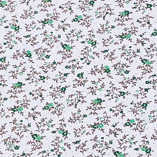 Bavlněné látky vzor kytičky zelené vzor 1