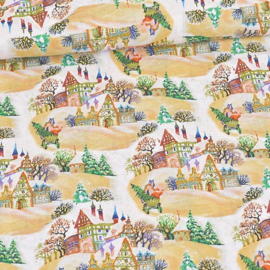 Bavlnené látky, metráž 160 cm, vzor Vianoce 007