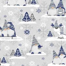 Vánoční dekorační bavlněné látky vzor VÁNOCE 24 barva modrá