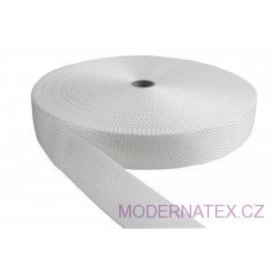Polypropylénový kabelkový popruh 25 mm  bílý (balení 50 m)