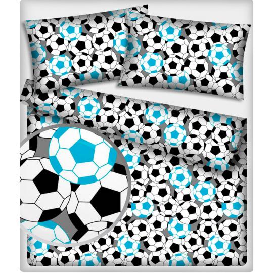 485 látka vzor FOOTBAL barva modrá