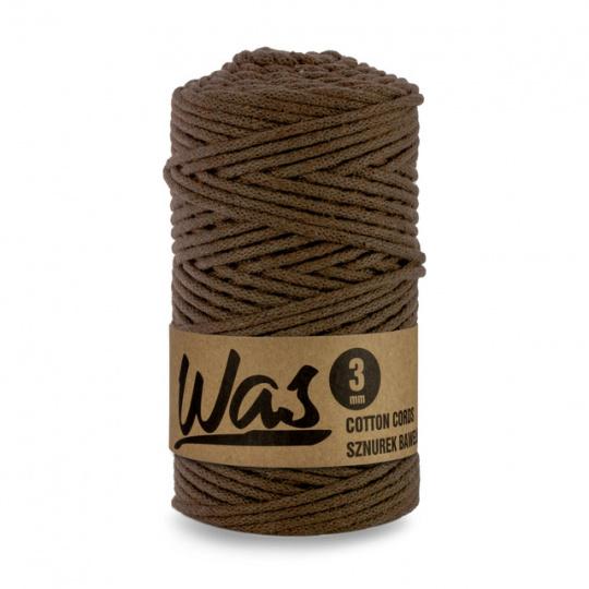 Bavlněná šňůra 3mm, 100m, HNĚDÁ