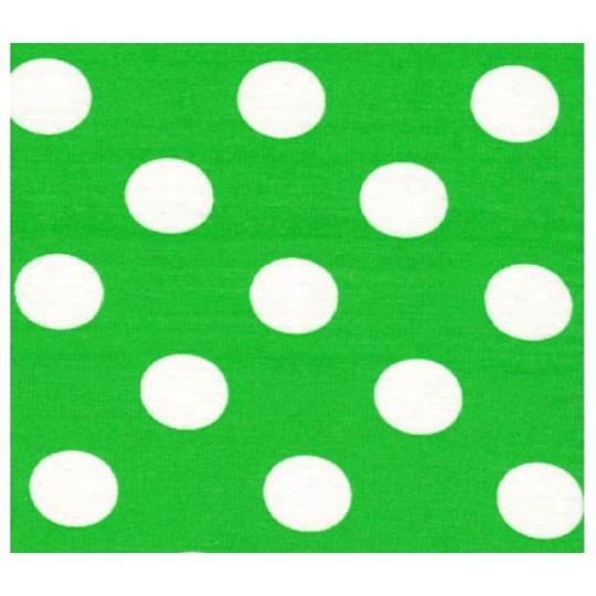 22 mm Bavlněná látka puntik velký, zelená-bílá, šíře 150 cm