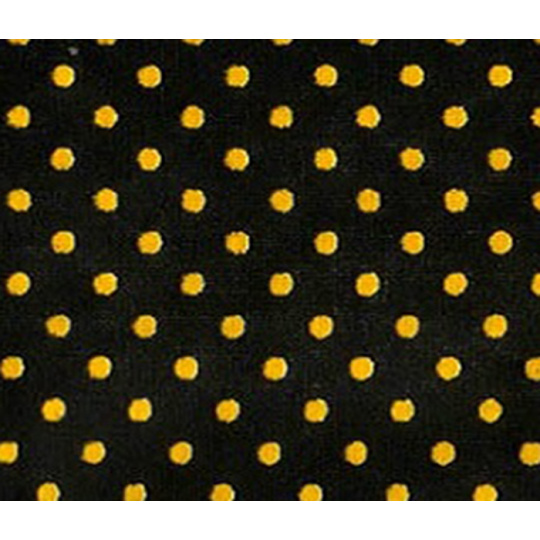 4 mm Dekorační látka puntík. Vzor - Hráškový STŘEDNÍ, černá-žlutá, metráž, bavlna