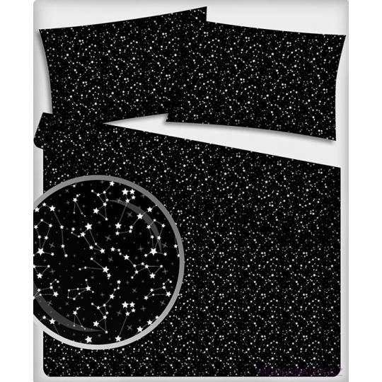 Bavlněné látky vzor GALAXIE na černém