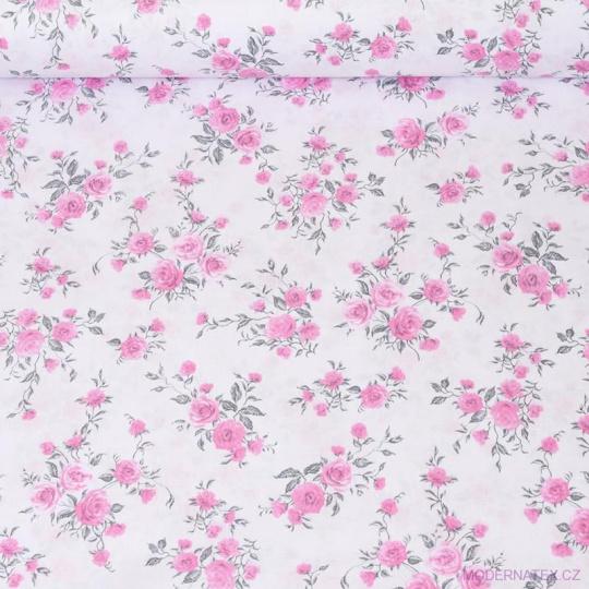 Bavlnená látka vzor kvetiny ruže na bielom sh podklade, metráž 160 cm